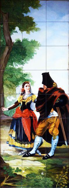"Azulejos. Taberna San Isidro (Madrid) Firmado por ""Lucía y Angel Cabanas"""
