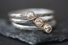 Champagne Diamond Stapeln Ringe  Verlobungsring  von LexLuxe, $178.00