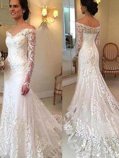 Court Train Applique Lace Sexy Mermaid Wedding Dresses | Gorgeous Long Sleeves Off-the-Shoulder Bridal Gowns | Yesbabyonline.com
