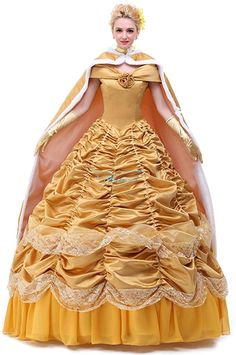 Ace Deluxe Adult Womens Beauty and the Beast Belle Costumes Custom Made Dress S Dress and Cape -- Continue to the product at the image link. Belle Costume, Queen Costume, Costume Dress, Zombie Costume Women, Costumes For Women, Girls Pageant Dresses, Prom Dresses, 12 Year Girl Dress, Costumes