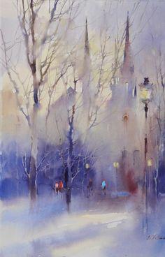 Viktoria Prischedko master of wet in wet watercolour painting