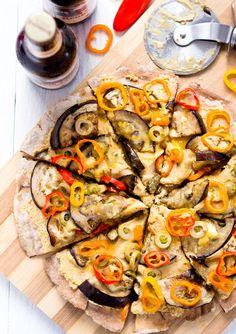 Eggplant Hummus Pizza | Vegan & Gluten free
