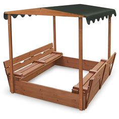 Badger Basket Covered Convertible Cedar Sandbox With Canopy And Two Bench Seats - Sandboxes at Hayneedle Sandbox Cover, Kids Sandbox, Sandbox Ideas, Canopy Outdoor, Outdoor Play, Sport Outdoor, Outdoor Games, Outdoor Toys, Outdoor Activities