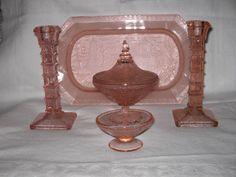 Brockwitz 'Chinapressung' trinket set. Dressing Table Set, Pressed Glass, Beauty Room, Vanity Set, Vintage Glassware, Dresden, German, Mirror, Home Decor