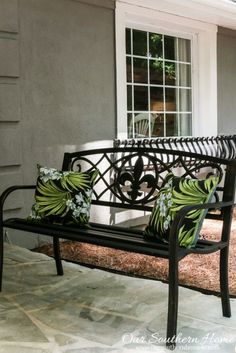 Affordable porch makeover with Big Lots. Big Lots is great for seasonal decor! Porch Furniture, Iron Furniture, Custom Made Furniture, Outdoor Garden Furniture, Furniture Makeover, Outdoor Decor, Furniture Market, Black Outdoor Bench, Wrought Iron Bench