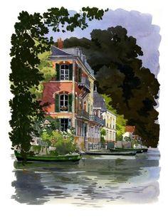 La maison rose (Gouache de Fabrice Moireau) - Maison d'hôtes à Olivet 45160