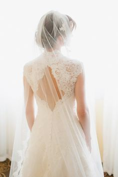 lovely bride, gown, and veil