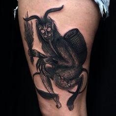 Der Krampus by Laura Yahna Germany Tattoo, Geometry Tattoo, White Ink, Skin Art, Tattoo Designs, Tattoo Ideas, Cool Tattoos, Piercings, Skull