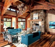 Tour this warm and welcoming dream home... Rustic Contemporary, Modern Rustic, Rustic Lake Houses, Montana Homes, Lakeside Living, Timber House, Dream House Plans, Home And Living, Living Rooms
