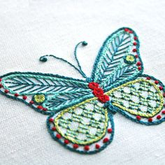 Crewel Embroidery Kit A LA CARTE KIT cairns birding butterfly, Digital Pattern, embroidery pattern, Prairie Garden Embroidery Designs, Crewel Embroidery Kits, Butterfly Embroidery, Embroidery Supplies, Learn Embroidery, Embroidery Needles, Modern Embroidery, Pekinese, Seed Stitch