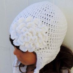 Snowy White Hat Crochet Girl's Beanie with by ChucksForChancho, $16.00