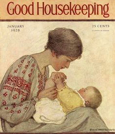"January 1928 - Good Housekeeping: ""Mother and baby"" by Jessie Wilcox Smith Old Magazines, Vintage Magazines, Jessie Willcox Smith, Journal Vintage, Magazine Art, Magazine Covers, Good Housekeeping, Children's Book Illustration, Mothers Love"