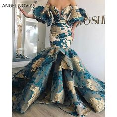 Long Mermaid Off Shoulder Arabic Lace Evening 2019 Saudi Arabia Dubai Moroccan Sexy Formal Prom Gowns African Prom Dresses, African Fashion Dresses, African Dress, Dress Fashion, Style Fashion, Elegant Dresses, Pretty Dresses, Crazy Dresses, Elegant Gown