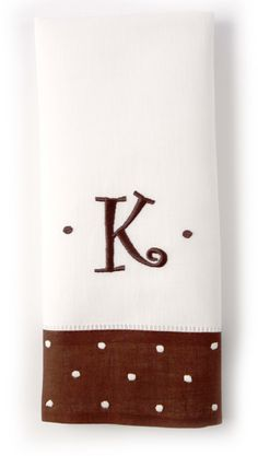 White with Chocolate Dot Border Hand Towel - Party Font
