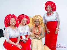 Red and Silver aso ebi | Image by Posh Click Photography