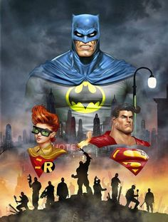 Batman, Robin y Superman, por Dave Wilkins