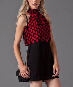 Loving this Black & Red Petals Layer Sleeveless Dress on #zulily! #zulilyfinds