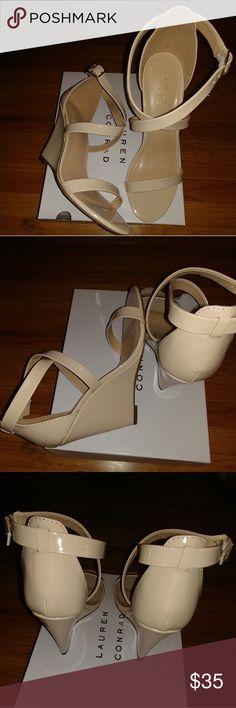 Lauren Conrad Strappy Nude  Wedges Strappy Nude wedges size 10, Gorgeous wedge! Lauren Conrad LC Lauren Conrad Shoes Wedges