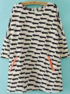 Kleid mit Taschen und Katze Muster, weiß 16.86