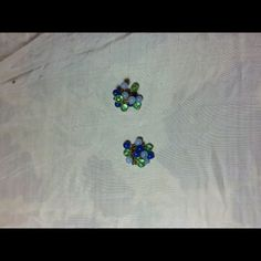 Vintage Bead Earrings Vintage bead earrings with blue and green beads. Very unique! Back clip ons. Get your retro on! Jewelry Earrings