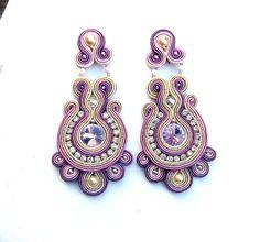 Clip-on Dangle boucles d'oreilles Soutache boucles d'oreilles déclaration violet bijoux idées cadeaux pour elle