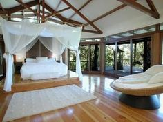 Romantic bedroom design idea with floorboards & floor-to-ceiling windows… Romantic Bedroom Design, Floor To Ceiling Windows, Building A House, Flooring, Living Room, Interior Design, Outdoor Decor, Modern, Inspiration