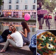 Paris, le long du canal St-Martin, un service de livraison de pizza à vélo qui vous repère à votre baloune rose àĺemplacement que vous aurez choisi! Quelle bonne idée! Pink Flamingo pizza