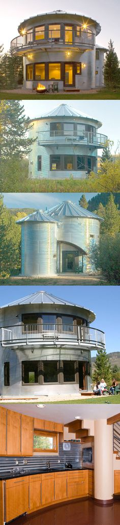 This one is right out of wizard of oz, or it should be. This awesome grain silo,. - This one is right out of wizard of oz, or it should be. This awesome grain silo, house take eco to - House Layout Design, House Layouts, Small House Kitchen Ideas, Barndominium Plans, Barndominium Pictures, Silo House, House Shelves, Bauhaus, Tiny House Living