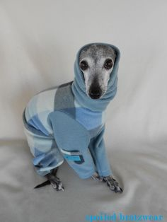 I'll take 3, please!  Fuzzy Warm Plaid Dog Jammies with Extended Cowl by hatz4brats, $25.00
