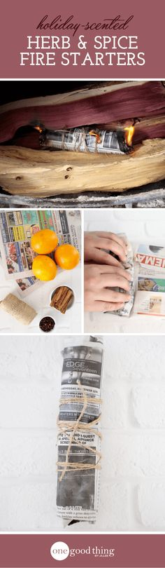 This is another way to capture the scents of the holiday season, but it's not just another potpourri idea. These little newspaper bundles are actually scented fire starters! Light one of these little guys, and in no time you'll be enjoying a fire in your stove or fireplace that will make your whole home smell like the holidays.