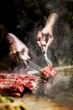 """""""Teppanyaki (鉄板焼き teppan-yaki?) is a style of Japanese cuisine that uses an iron griddle to cook food. The word teppanyaki is derived from teppan (鉄板), which means iron plate, and yaki (焼き), which means grilled, broiled, or pan-fried. In Japan, teppanyaki refers to dishes cooked using an iron plate, including steak, shrimp, okonomiyaki, yakisoba, and monjayaki.""""  (Wikipedia)"""