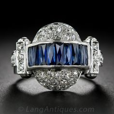 Russian Art Deco Sapphire and Diamond Ring