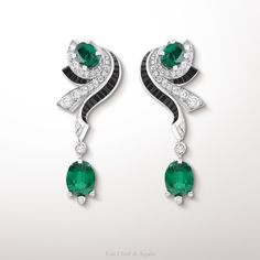 -Lierre earrings, Palais de la chance collection- White gold, diamonds, black spinels, platinum and 4 oval-cut emeralds for a total weight of 5,50 carats (origin: Zambia). The Lierre earrings from the Palais de la chance collection pays homage to the...