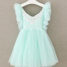Aqua Tulle & Lace Princess Dress