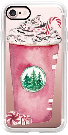 Casetify iPhone 7 Classic Grip Case - Red Cup Season Christmas Starbucks Peppermint Mocha Candy Cane Coffee Cup by Cami Monet  #Casetify
