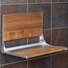 """Crosslinks is excited to offer our new 17"""" Burmese Teak wood one person folding shower bench. Featuring a high strength easy close mechanism that allows the bench to fold up and stay up! Back rest is"""