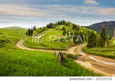 #cross #road on #hillside #meadow at #sunrise