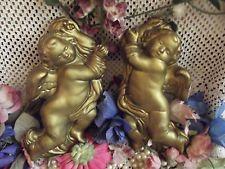 Vintage CHALKWARE Angel CHERUB Plaque Set Pair Chic Golden PLASTER Wall Art