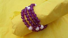 Purple Pink Beaded Bracelet by BeaderBubbe on Etsy, $8.00