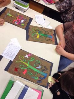 """It doesn't get much more vibrant than fluoresant paint on kraft paper! After practicing some bird and """"tree of life"""" sketches, we finialize..."""