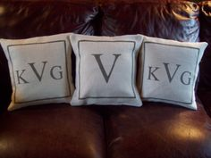 Our burlap pillow cover will be made with your choice of initial and colors. Choose from off white or natural (brown) burlap and your choice