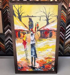 Stretched canvas custom framed with @romamoulding! With over 2,000 frame samples, come see how we can make your art look great! #art #pictureframing #customframing #denver #colorado #canvas