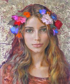 """Beautiful in a sad but beautiful face. - By Goyo Dominguez - Board """"Art - Flowers in your Hair"""" -"""