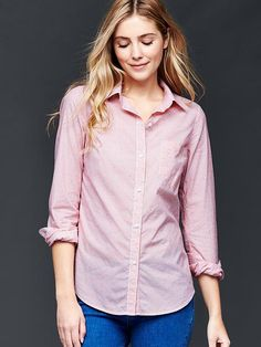 bd2e6015128 Fitted boyfriend dobby dot oxford shirt Product Image