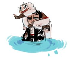 Malik and Altair HAHAHAHA! Learn to swim already!