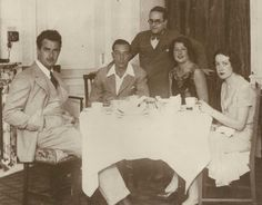 """Gilbert Roland, Buster Keaton, Norma and Natalie Talmadge on vacation in Spain c The trip was suppose to be a """"Honeymoon"""" for Buster and Natalie. Gilbert and Norma were having an affair. Golden Age Of Hollywood, In Hollywood, Norma Talmadge, Gilbert Roland, Mary Pickford, Having An Affair, Comedians, My Love, Spain"""