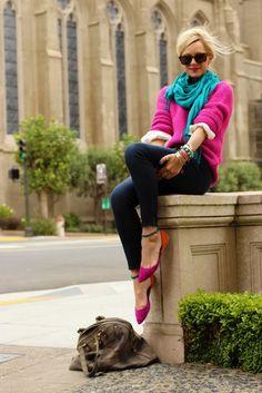 Sweater: Zara. Jeans: Old Navy Rockstar. Shoes: Zara. Bag: YSL. Scarf c/o: Shawlsmith. Belt: Jcrew. Jewelry: David Yurman (bracelet c/o), Michele, Gap, c/o Bauble Bar, YSL, Pomellato. Lips: NARS Schiap. Sunglasses: Karen Walker Deep Freeze.