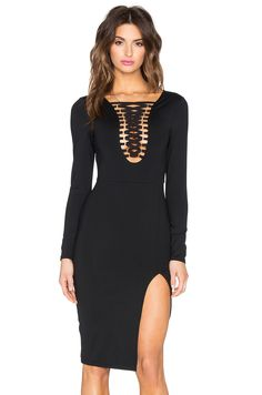 Donna Mizani Lace Up Midi Slit Dress in Black