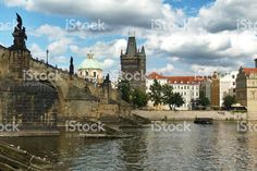 Charles Bridge and the Powder Tower in Prague royalty-free stock photo