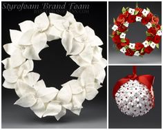 Styro balls studded with paper punch flowers and red ball pins Very Merry Christmas, Christmas Holidays, Christmas Wreaths, Styrofoam Crafts, Holiday Crafts, Holiday Ideas, Christmas Ideas, Homemade Crafts, Diy Crafts